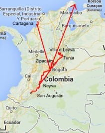 Kolumbia-mapka trasy