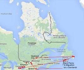 mapka trasy w Quebecku
