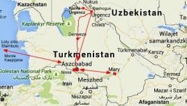 mapka trasy w Turkmenistanie