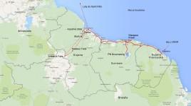 mapka trasy w trzech Gujanach