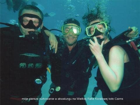moje piersze nurkowanie w akwalungu na Wielkiej Rafie Koralowej koło Cairns,