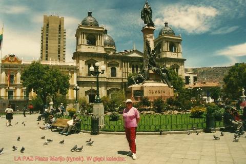 LA PAZ Plaza Marijo (rynek), katedra.,Andy,La Paz,wyzyna Altiplano,lama,alpaka,wikunia.podroznik,globtroter,wedrowki z pawlem,