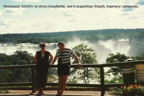 Wodospady IQUASU od strony brazylijskiej. Jest to pogranicze: Brazylii, Argentyny i paragwaju.