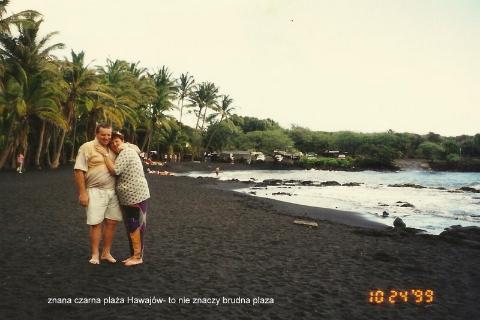 znana czarna plaza Hawajow,Pacyfik,Oahu,Hawaje, Centrum Kultury Polinezyjskiej.wulkan,lawa,wybuch,Kilauea,czarna plaza,