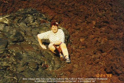 dwa rodzaje lawy kolo czynnego wulkanu KILAUEA w Parku narodowym Wulkanow,Pacyfik,Oahu,Hawaje, Centrum Kultury Polinezyjskiej.wulkan,lawa,wybuch,Kilauea,czarna plaza,