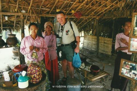 w rodzinie zbieraczy soku palmowego,Azja,idochiny,rangun,pagan, jezioro inle,kobiety,zyrafy,