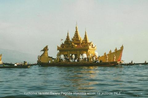 ruchoma na lodzi, swieta Pagoda, objezdza wioski ,na jeziorze INLE,