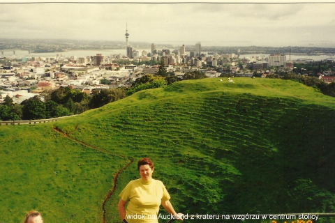 widok na Auckland z krateru na wzgoPacyfik, wyspa,auckland,Rotorua, park wulkanow,podroznik polski,rzu w centrum stolicy.