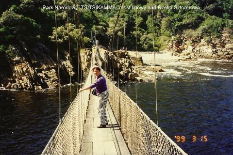 Park Narodowy  TSITSIKAMMA, most linowy, nad Rzeką Sztormowa,