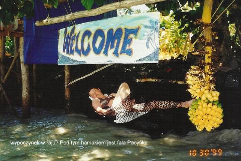 Pacyfik,Apia,rajska wyspa,podrozowac, tanio,daleko,spotkania,prelekcje,wypoczynek w raju? Pod tym hamakiem jest fala Pacyfiku.