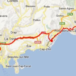 Mapka trasy z menton-Monako-Nicea