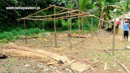 Kamerun, Pigmeje, chata-w-budowie