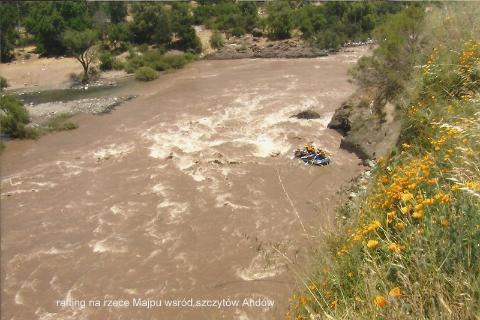 rafting na rzece Majpu, wsród szczytów Andow,
