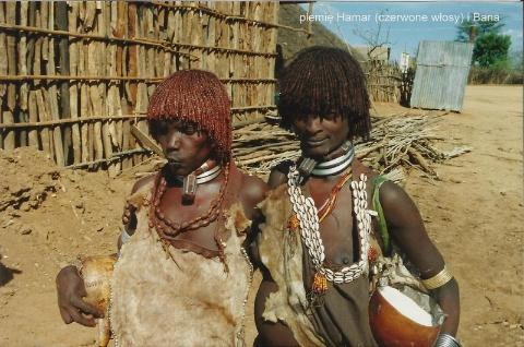 plemie Hamar (czerwone wlosy) i Bana,Afryka,Addis Abeba,plemiona , Omo,Hamar,Hamer,Mursi.Bana