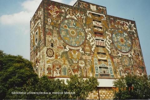 biblioteka uniwersytecka w miescie Meksyk,Ameryka,swiat majow,acapulco,cancun,oaxaca,