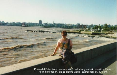 Punta del Este- kurort nadmorski Tu od strony zatoki z rzeki La Plata. Formalnie ocean, ale ze slodka woda i szerokosci ok. 130 km.Ameryka Pld.,Montevideo,la plata,punta del este,podroznicy polscy,pawel krzyk,film,